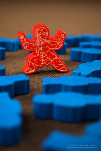meeple karate woman fight red blue engraver